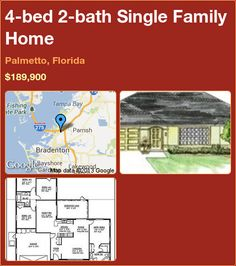 4-bed 2-bath Single Family Home in Palmetto, Florida ►$189,900 #PropertyForSale #RealEstate #Florida http://florida-magic.com/properties/2191-single-family-home-for-sale-in-palmetto-florida-with-4-bedroom-2-bathroom