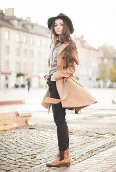 fedora + wool coat