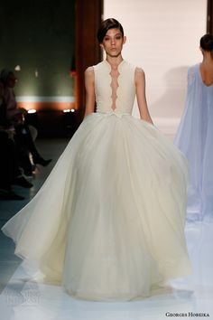 georges hobeika couture spring 2014 pale yellow sleeveless ball gown- A wedding dress to show off my new tattoo
