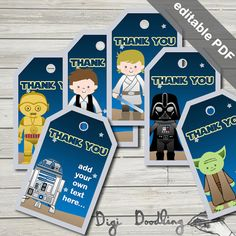 This listing is for printable Star Wars party favor tags. It includes the characters Luke Skywalker, Han Solo, Darth Vader, Yoda, C3PO and R2D2.