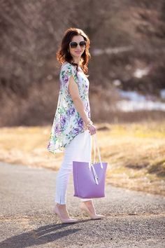 Floral top and lavender tote on Lipgloss & Labels