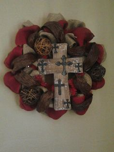 Burgundy and burlap wreath with wooden cross by 3CraftinSisters, $60.00 - check them out on etsy!