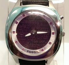 Fossil Big Tic Words Watch Pink Face Black Leather Band Silvertone JR-8337 $55.00 USD #Fossil #Fashion #Watches www.iiwiiMerchandise.com