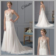 The Celeste bride possesses exquisite taste, but is savvy enough to know that need not be achieved through extravagance. This style offers just the right amount of embellishment in the silvery beaded bodice with illusion jewel neckline and keyhole illusion back. The soft tulle over chiffon and satin provides a comfort disguised by a sleek and chic appearance