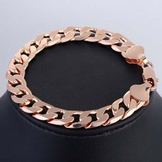 FLAT CURB Rose Gold Filled Bracelet Men's Chain New Size: 10 mm_7-11 inch Customized