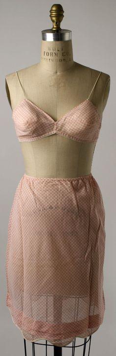 Gingham Bra and Half Slip, Henri Bendel (American, founded 1895): ca. 1950's, American, cotton, silk.