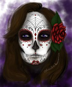 """I drew a sugar skull in one of my notebooks a while ago So I wanted to transfer it to the computer, and colour it, since I never do that... Ugh so much workkk And I actually kind of """"finished"""" it t..."""