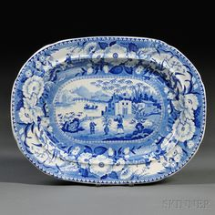 Blue and White Transfer-decorated Oblong Platter with Oriental Scene