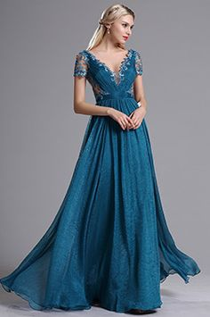 Blue Plunging V Neck Illusion Back Prom Evening Dress (00164505) - EUR 152,99