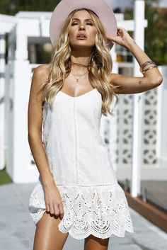 White Lace Embroidered Hemline Dress