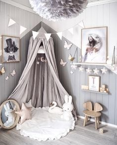 Love this beautiful kid's room! Linen canopy, Miffy lamp and Vita Eos lamp - Project Nursery - meadoria Baby Room Decor, Nursery Room, Girl Nursery, Girls Bedroom, Trendy Bedroom, Bedroom Decor, Kid Bedrooms, Girs Bedroom Ideas, Baby Girl Nurserys