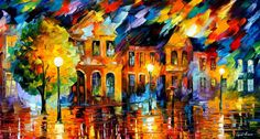Old Street by Leonid Afremov Handmade oil painting reproduction on canvas for sale,We can offer Framed art,Wall Art,Gallery Wrap and Stretched Canvas,Choose from multiple sizes and frames at discount price. Modern Impressionism, Impressionist Landscape, Impressionist Paintings, Seascape Paintings, Oil Painting On Canvas, Painting Clouds, Art Paintings, Painting Art, Fine Art Amerika