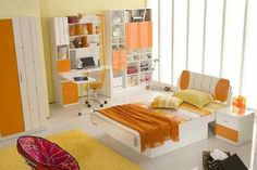 Orange Bedroom Decor and Design Ideas for 2017 - Bedroom is the most intimate part of any home, therefore bedrooms designs, decors and colors reflect their owners characters and preferences. Orange Bedroom Decor, Orange Bedrooms, Contemporary Bedroom, Kids Bedroom, Childrens Bedroom, Home Interior Design, Inspiration, Home Decor, Design Ideas