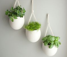 Medium Porcelain Hanging Planter by Farrah Sit