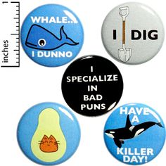 "Funny Pun Fridge Magnets Epic Humor Puns Kitchen Magnets Gift 5 Pack 1"" MP24-2 #Outerspacebacon Bad Puns, Funny Puns, Funny Quotes, Aliens Funny, Alien Puns, Funny Buttons, Pun Gifts, Freak Flag, Lovers And Friends"