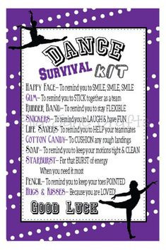Be prepared for any situation with our no fail DIY Survival Kit List, you will be happy that you are prepared for everything this life can throw at you. Cheer Competition Gifts, Cheer Team Gifts, Dance Team Gifts, Dance Teacher Gifts, Dance Good Luck Gifts, Diy Dance Gifts, Dance Crafts, Cheer Mom, Dance Survival Kit