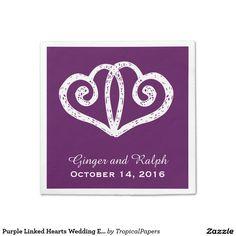 Purple Linked Hearts Wedding Engagement Napkins  sc 1 st  Pinterest & Purple Heart Confetti Napkins Standard Cocktail Napkin | Matching ...