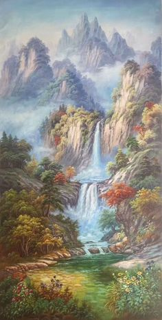 Oil painting - the living art! Chinese Landscape, Fantasy Landscape, Landscape Art, Landscape Paintings, Fantasy Art, Waterfall Paintings, Traditional Paintings, Japanese Painting, Mural Art