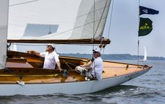 Sam Croll and Henry Skelsey's 8 Metre Angelita at the 2012 NYYC Race Week in Newport presented by Rolex. The classic yacht will be racing again this year in Part I of the 2014 event which kicks off this weekend! (Photo Credit Rolex/Daniel Forster)