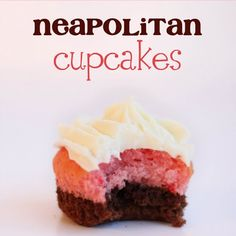 Neopolitan Cupcakes - use brownie or chocolate cake for brown, strawberry cake for pink and white vanilla or buttercream frosting