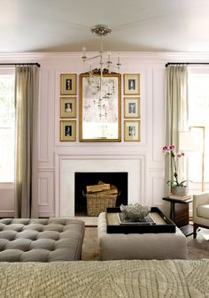 soft pearly grey ceiling on blush pink...♥ the layout of pix surrounding the mirror