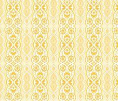 Yellow Daisy Stripe fabric by siya on Spoonflower - custom fabric
