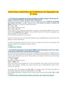 Exercícios resolvidos de Problemas de Equações do 2º Grau 1) O triplo do…