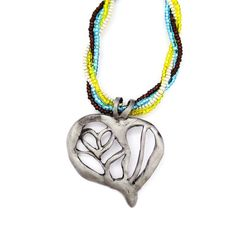 Radiant Heart Talisman Necklace in steel- blue, yellow, rootbeer, and silver glass seed beads intertwined, 18 inch necklace, toggle clasp