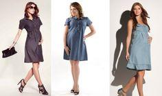 Vestidos jeans para gestantes Gestantes na moda com vestidos