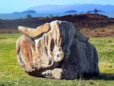 Sculpted Granite by Ronald Rae, 5 x10 x 5ft 10.00 tons. Isle of Eriska, Argyll.   The Highland Cow, bulky and brooding with huge horns and rhythmic hair covering its eyes.