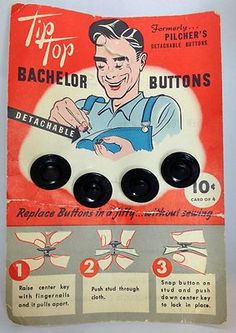 Vintage Bachelor Button Card Snap Together Black Metal No Sewing