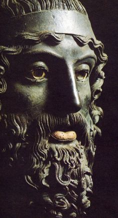460 - 450 B.C.   Riace Bronze/ Poseidon/ eye whites were made of ivory & the irises were inlaid jewels