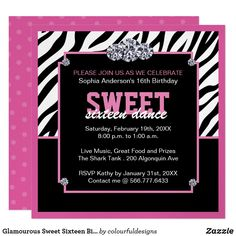 Shop Glamourous Sweet Sixteen Birthday Party Invitation created by colourfuldesigns. Disney Sweet 16, Toned Paper, Kids Party Supplies, Create Your Own Invitations, 16th Birthday, Sweet Sixteen, Christmas Card Holders, Zazzle Invitations, Birthday Party Invitations