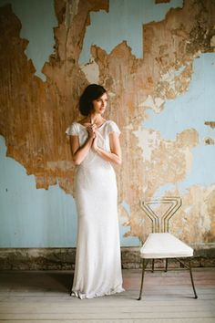 Shimmery Sarah Seven wedding dress | a & bé style book | see more on: http://burnettsboards.com/2014/04/15-fabulously-styled-wedding-dresses/ #weddingdress