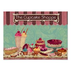 Pastry Cupcake Patisserie Bakery Shop Sign Posters