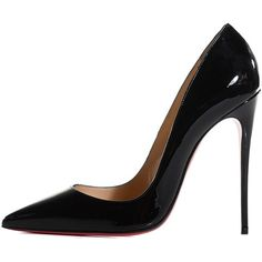 CHRISTIAN LOUBOUTIN Patent So Kate 120 Pumps 39 Black ❤ liked on Polyvore featuring shoes, pumps, heels, christian louboutin shoes, patent leather pumps, patent leather pointed toe pumps, black shiny pumps and black stilettos