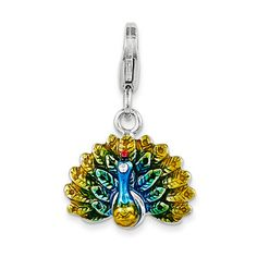 Amore La Vita 925 Sterling Silver 3-D Enamel Peacock w/ Lobster Clasp Charm #AmoreLaVita #Charms