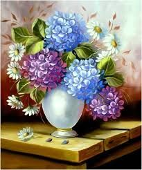 escudeiro telas - Pesquisa Google Hydrangea Painting, Hydrangea Colors, Painting & Drawing, Watercolor Paintings, Floral Drawing, Flower Oil, Flower Images, Painting Inspiration, Art Pictures