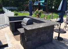 Outdoor grilling area that is complete with Sapphire Blue granite countertops.  Countertops by Stoneshop from Cherry Hill, NJ.