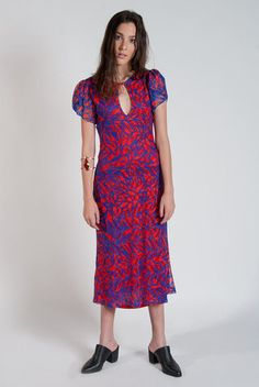Women's red and blue patterned mid-maxi dress with keyhole chest and puff…