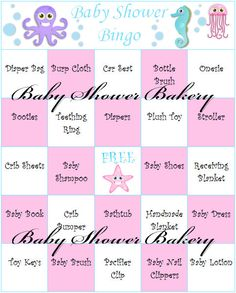 Under the Sea Baby Shower Bingo Game Pink by BabyShowerBakery