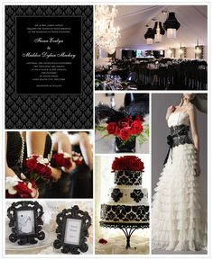 Glamorous deep red and black wedding inspiration board