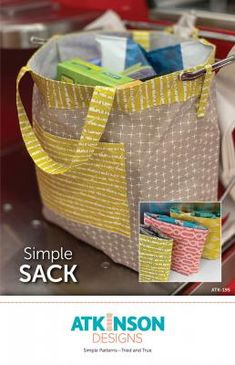 Simple Sack sewing pattern from Atkinson Designs. This Simple Sack pattern makes it so easy to be green! Bag Patterns To Sew, Tote Pattern, Pattern Paper, Sewing Patterns, Lazy Girl Designs, Sack Bag, Reusable Grocery Bags, Sewing Projects For Beginners, Simple Designs