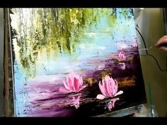 palette knife painting water and reflections Abstract Painting Easy, Lily Painting, Acrylic Painting Techniques, Painting Lessons, Abstract Canvas, Abstract Paintings, Water Lilies Painting, Textured Painting, Art Paintings