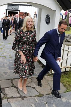 "Crown Prince Haakon and Crown Princess Mette-Marit arrive for a meeting with the famous psalm writer, Svein Ellingsen at Dypvåg Church on 8 June 2017 in Tvedestrand, Norway. The Crown Princess is on her annual Litteraturtoget (""Literature Train"") tour  from Asker to Kristiansand for 7 - 9 June."