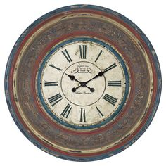 Add worldly appeal to your home office or kitchen with this eye-catching wall clock, showcasing a distressed multicolor finish and French typographic details...