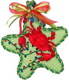Associated Talents crab stsar needlepoint ornament