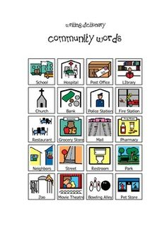 Visual Writing Dictionary for Special Education Classroom or ESL Resource!