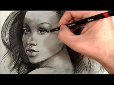 beautiful face drawing | portré szénnel. How to draw with charcoal. How to draw people faces ...
