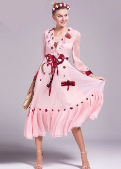 Sequined Bowtie Star Cascading Pink Print Party Maxi Dress